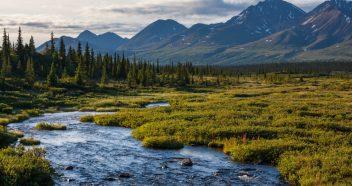 river in tundra on Alaska