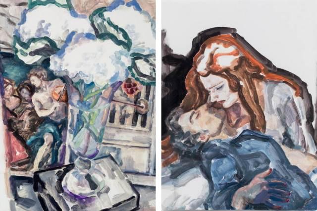 Elizabeth-Peyton-Dreamt-Baroque-Masterworks-2014-image-via-gladstonegallery-Left-Parsifal-Jonas-Kaufmann-and-Katarina-Dalayman-2013-image-gladstonegallery-Right
