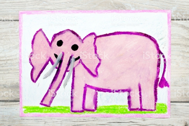 Photo of colorful drawing: Smiling pink elephant
