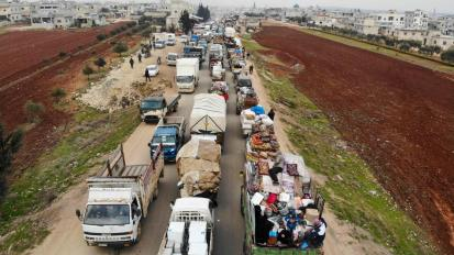 exode des habitants d'Idlib AFP Omar Haj Kadour
